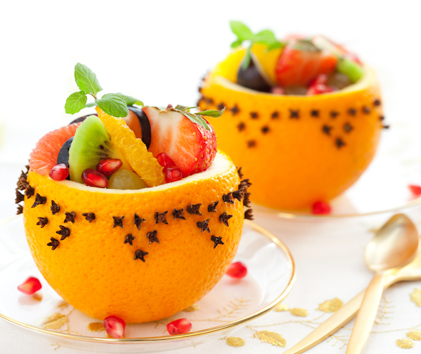 Salade de Fruits au yaourt en coupe d'orange